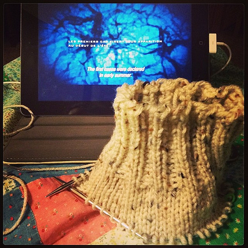 Yea for knitting and reading subtitles!